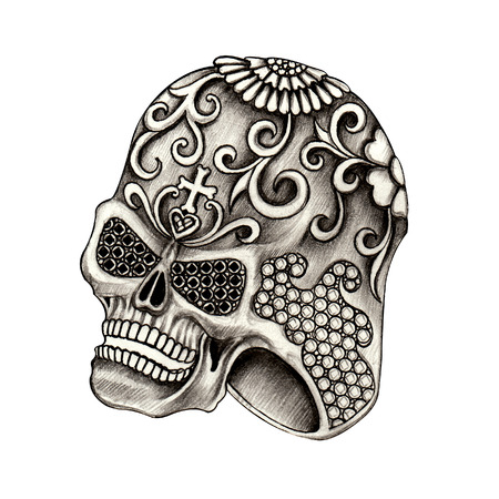 catrina: Jewelry design skull ring day of the dead.Hand pencil drawing on paper. Stock Photo