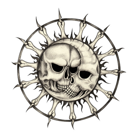 Sun and moon skull tattoo.Hand pencil drawing on paper.