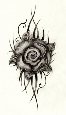Rose tattoo. Hand drawing on paper.