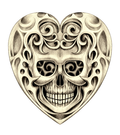 rustler: Heart skull tattoo. Hand drawing on paper. Stock Photo