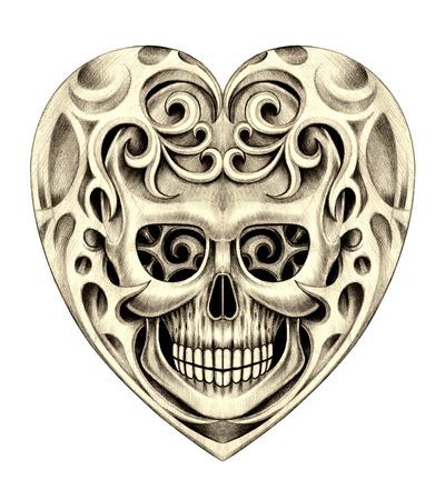 rustler: Heart skull tattoo. Hand drawing on paper. Stock Photo