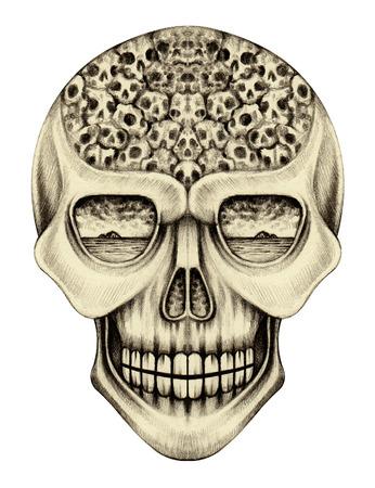 head shape: Art skull surreal.Hand pencil drawing on paper.