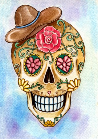 Skull art day of the dead festival.Hand watercolor painting on paper. Фото со стока