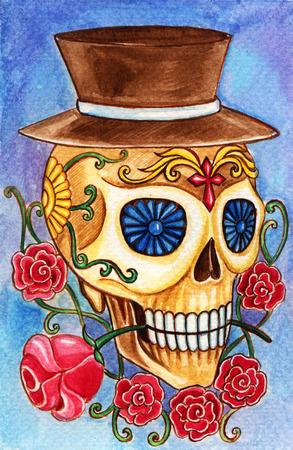 Cráneo día el arte de la pintura muerta acuarela festival.Hand en papel. Foto de archivo - 44416392
