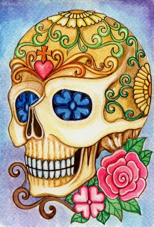 heavy heart: Skull art day of the dead festival.Hand watercolor painting on paper. Stock Photo