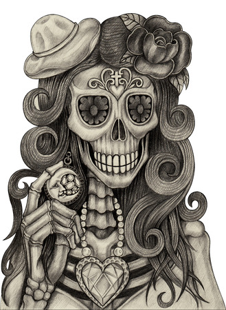 dead body: Women skull art day of the dead festival.Hand drawing and painting on paper.