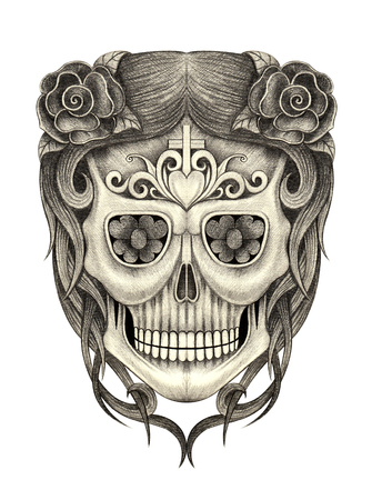 heavy heart: Head skull art day of the dead hand pencil drawing on paper. Stock Photo
