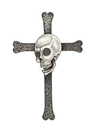 death metal: Art skull cross . Hand pencil drawing on paper.