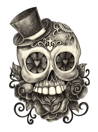 Head skull art day of the dead hand pencil drawing on paper. Stock Photo