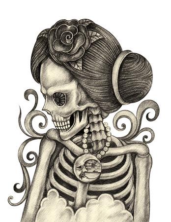 Femmes crâne art jour des morts dessin festival.Hand et peinture sur papier. Banque d'images