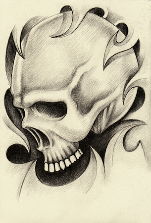pencil drawing: Skull art tattoo.Hand pencil drawing on paper. Stock Photo
