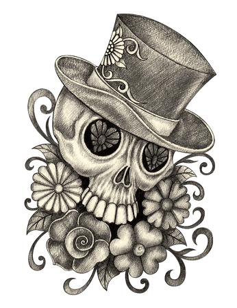 Jefe día arte del cráneo de la mano muerta dibujo a lápiz sobre papel. Foto de archivo - 46732887