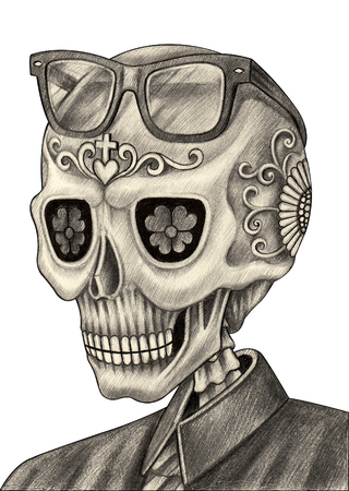 Men skull art day of the dead festival.Hand drawing and painting on paper.