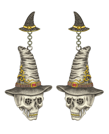 earrings: Skull Witch earrings Halloween day. Hand pencil drawing and water color painting on paper. Stock Photo