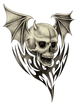 Skull wings devil tattoo.Hand pencil drawing on paper.