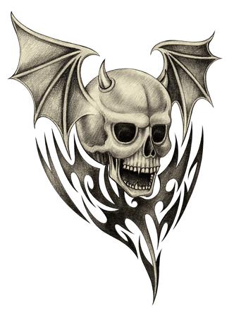 heavy heart: Skull wings devil tattoo.Hand pencil drawing on paper.