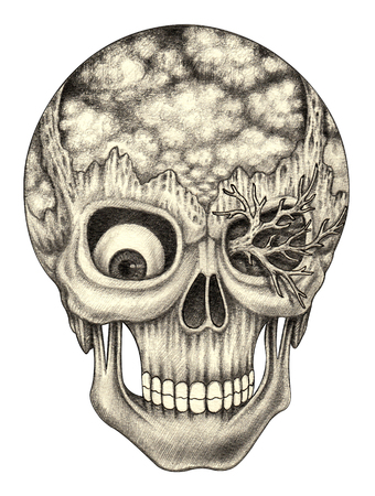 death metal: Skull art surreal.Hand pencil drawing on paper.