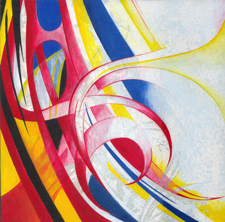 artwork painting: Art abstract. Hand color painting and silk screen on canvas.