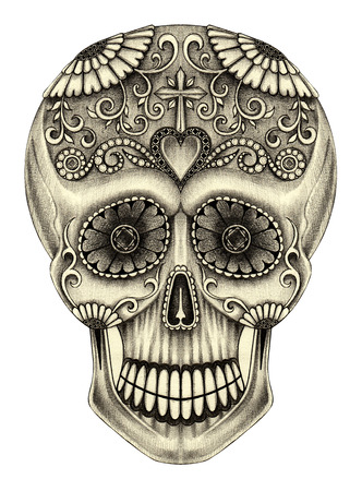 Art Skull head day of the dead. Hand pencil drawing on paper.