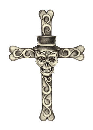 cross bones: Skull cross day of the dead.Hand pencil drawing on paper. Stock Photo