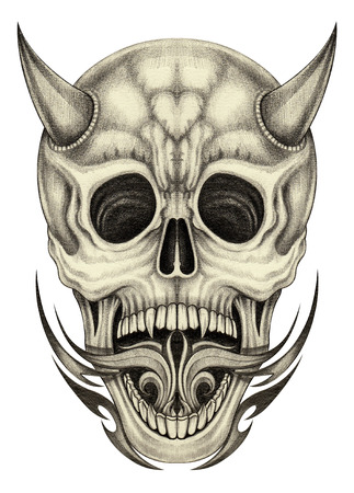 face to face: Skull devil tattoo.Hand pencil drawing on paper. Stock Photo