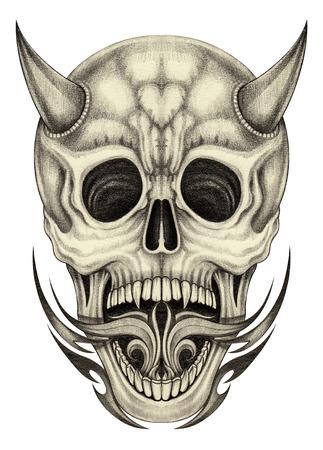 devil horns: Skull devil tattoo.Hand pencil drawing on paper. Stock Photo