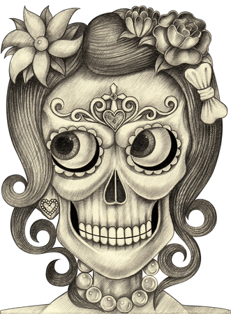culture day: Women skull art day of the dead festival.Hand drawing and painting on paper.