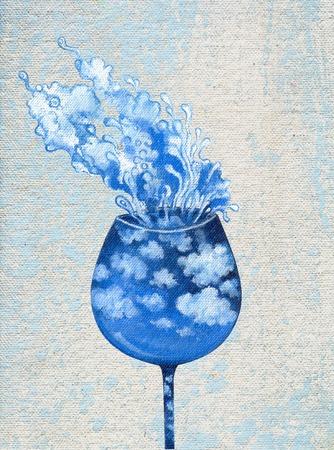 Surrealistische wijnglas acrylverf op canvas.