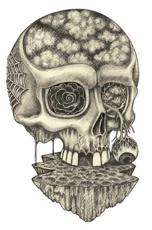 flower head: Art skull surreal.Hand pencil drawing on paper.