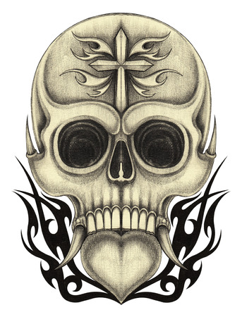devil's bones: Skull tattoo.Hand pencil drawing on paper. Stock Photo