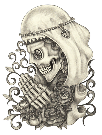 Skull art day of the dead. Hand pencil drawing and color painting on paper.