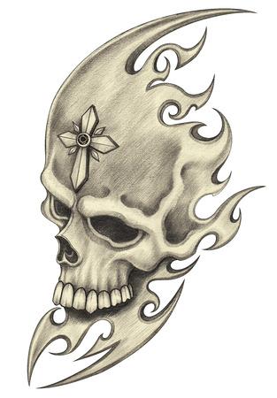 Schedel tattoo.Hand potloodtekening op papier.
