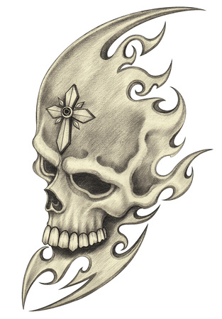 Skull tattoo.Hand pencil drawing on paper. Stock Photo