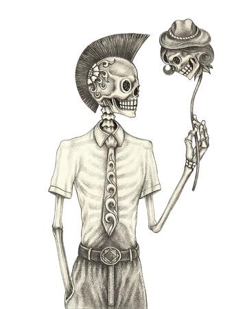 Día de punk cráneo de los muertos. Mano dibujo a lápiz sobre papel. Foto de archivo - 58100310