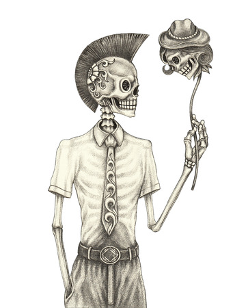Skull punk day of the dead. Hand pencil drawing on paper. Фото со стока