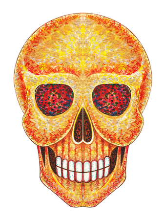art painting: Skull art . Hand color painting on paper.