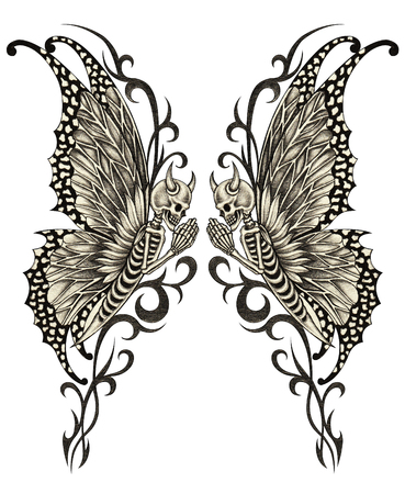 butterfly  angel: Skull art surreal tattoo. Hand pencil drawing on paper. Stock Photo