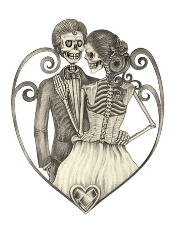 Arte boda del cráneo del diseño de la cara sonriente de acción amor día del dibujo de lápiz del festival de mano muerta en el papel. Foto de archivo - 62812185