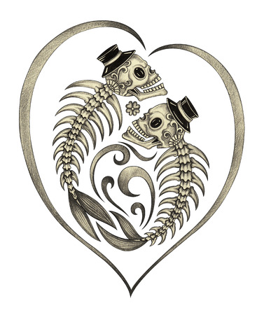 flower head: Art design skull wedding in love action smiley face day of the dead festival hand pencil drawing on paper.