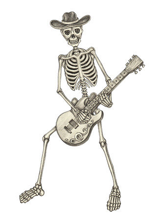 metal sign: Skull art day of the dead.Art design skull playing guitar day of the dead hand pencil drawing on paper. Stock Photo