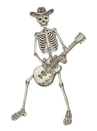 Teschio dell'arte giorno del disegno del cranio dead.Art suonare la chitarra giorno della matita mano morta disegno su carta.