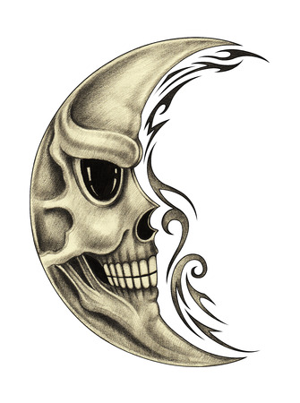 Skull moon tattoo.Art design skull moon smiley face for tattoo hand pencil drawing on paper. Stock Photo