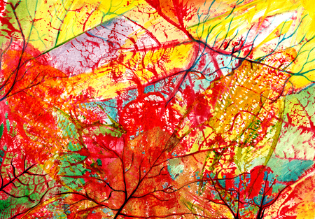 Art abstract Background . Handmade color painting and printmaking on canvas.