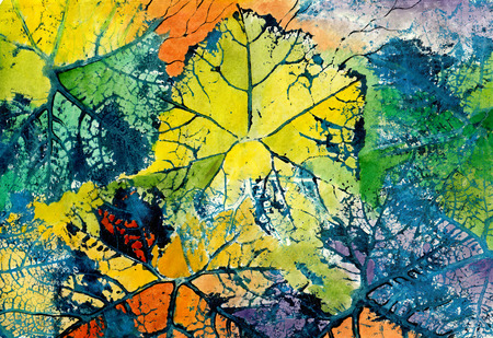 printmaking: Art abstract Background . Handmade color painting and printmaking on canvas.