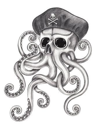 Pulpo cráneo dibujo a lápiz sobre papel tattoo.Hand surrealista. Foto de archivo - 66713536