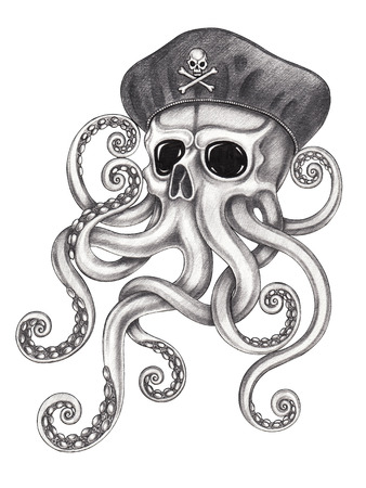 Skull octopus surreal tattoo.Hand pencil drawing on paper. Фото со стока