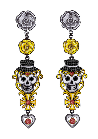 Art skull earrings day of the dead. Hand drawing and painting on paper. Stock Photo