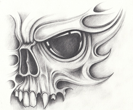 Art skull surreal tattoo.Hand pencil drawing on paper.
