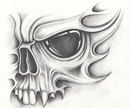 Tatuagem surreal de caveira de arte. Desenho a lápis mão no papel.
