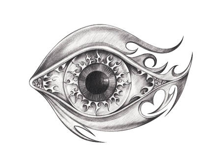 Eyes surreal tattoo.Hand pencil drawing on paper. Stockfoto